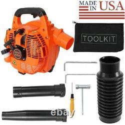 2-Stroke Hand Held Leaf Blower, 26cc Gas Engine, 375 CFM 195 MPH 7500 RPM Orange