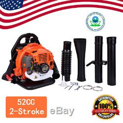 3.2HP Gas Backpack Leaf Blower 52CC 2Stroke Powered with Padded Harness EPA