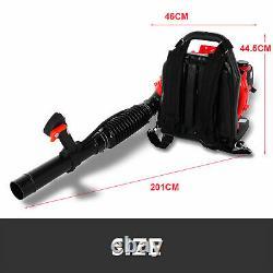 63CC 2.3KW 2Stroke 210Mph Gas Backpack Leaf Blower Powered Debris Padded-Harness