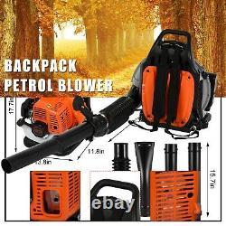 63CC 3.2HP 2 Stroke Gas Backpack Leaf Blower Powered Debris Padded-Harness 2.3KW