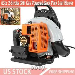 63cc 2-Stroke 3Hp Gas Powered Back Pack Leaf Blower High Performance