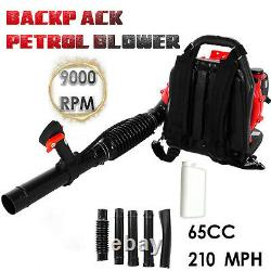65CC 2-Stroke 2.3Hp Gas Powered Back Pack Leaf Blower 210 Mph High Performance