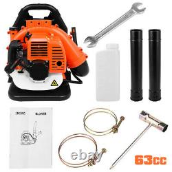 Back Pack Leaf Blower, EPA Approved, Easy Starting, 63cc 2 Stroke 3HP Gas Powered