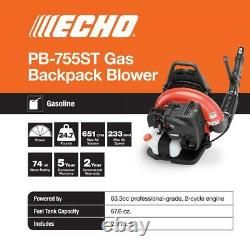 Gas 2-Stroke Cycle Backpack Leaf Blower with Tube Throttle ECHO PB-755ST Black