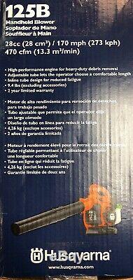 NEW! Husqvarna 125B 28CC 170 Mph Gas Leaf/Grass Handheld Blower 470 CFM