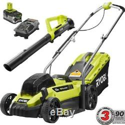 Ryobi Lawn Mower Leaf Blower Combo Kit 13 in. 18-Volt Lithium-Ion Cordless