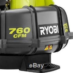 Ryobi Leaf Blower Backpack Gas Contoured Harness Powerful 175 MPH 760 CFM 38cc