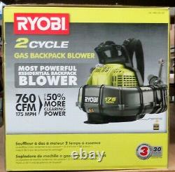 Ryobi RY38BP 175 MPH 760 CFM 2 Cycle Backpack Blower NEW
