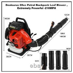 80cc 900cfm Cylindre Simple 2-stroke Gas Powered Back Pack Feuille Blower Us Stock