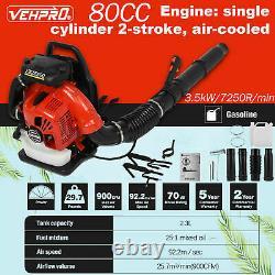 80cc Soupape À Dos 3500w 2-stroke Gas Powered High Performance 900 Cfm