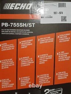 Echo Gas Powered Back Pack Souper De Feuille 63.3cc Pb-755sh/st Lire La Description