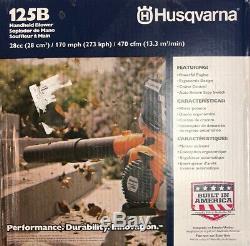 Nouveau! Husqvarna 125b 28cc 170 Mph Gas Feuille / Herbe Souffleur À Main 470 Cfm