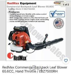 Redmax Ebz7500rh 236 Mph 112 Db 65,6 CC Gaz Alimenté À Dos Souffleuse