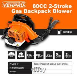 Sac À Dos 80cc 2stroke Puissant Souffleur Leaf Blower Motor Gas 850 Cfm Us Stock