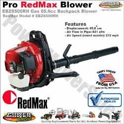 Véritable Redmax Gas Powered Backpack Souffleuse 65.6cc 232 Mph 631 Cfm Ebz6500rh
